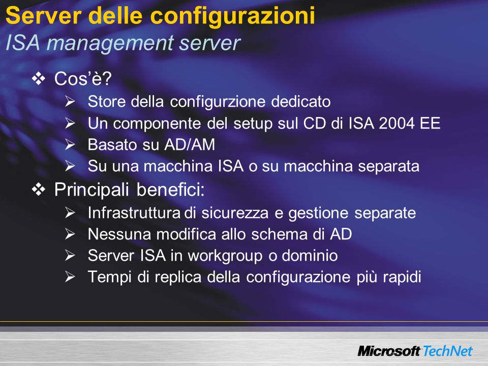 Server delle configurazioni ISA management server Cosè.