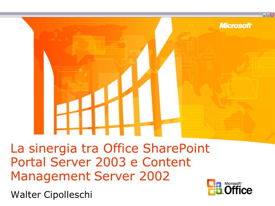 La sinergia tra Office SharePoint Portal Server 2003 e Content Management Server 2002 Walter Cipolleschi