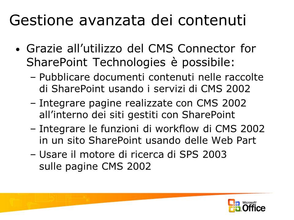 Gestione avanzata dei contenuti Grazie allutilizzo del CMS Connector for SharePoint Technologies è possibile: –Pubblicare documenti contenuti nelle ra
