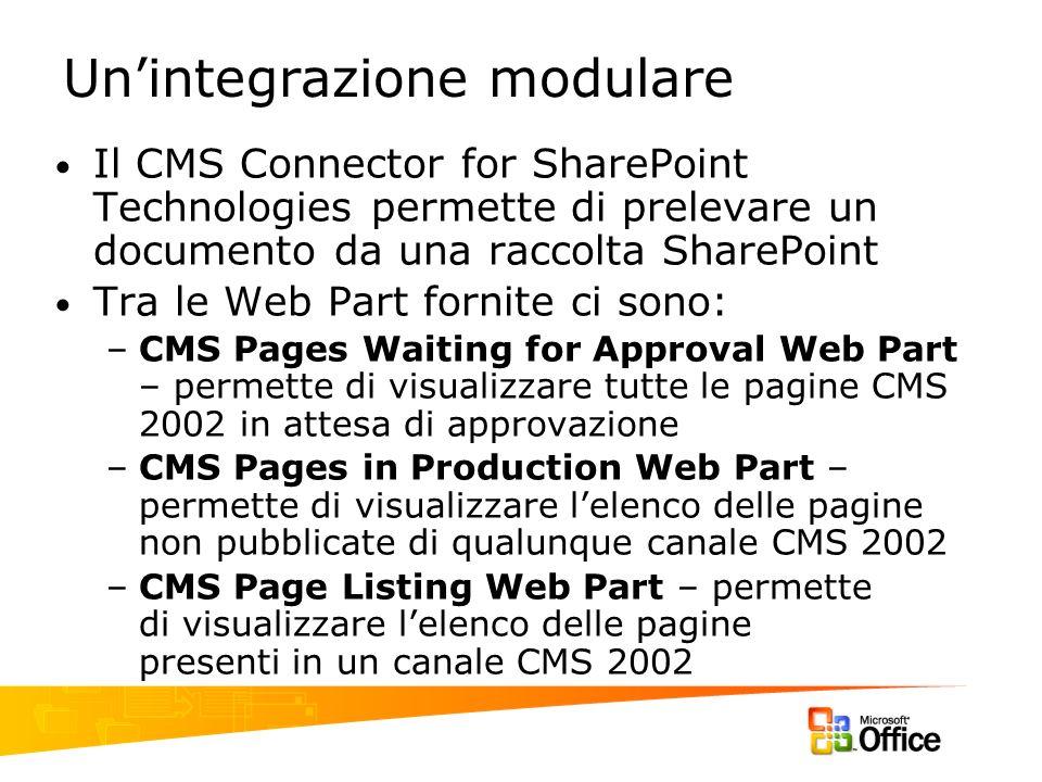 Unintegrazione modulare Il CMS Connector for SharePoint Technologies permette di prelevare un documento da una raccolta SharePoint Tra le Web Part for
