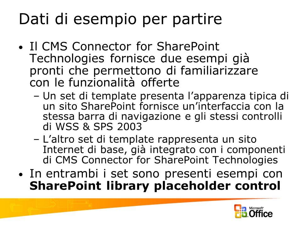 Dati di esempio per partire Il CMS Connector for SharePoint Technologies fornisce due esempi già pronti che permettono di familiarizzare con le funzio