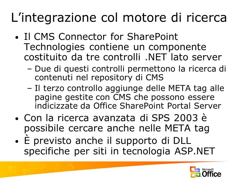 Lintegrazione col motore di ricerca Il CMS Connector for SharePoint Technologies contiene un componente costituito da tre controlli.NET lato server –D