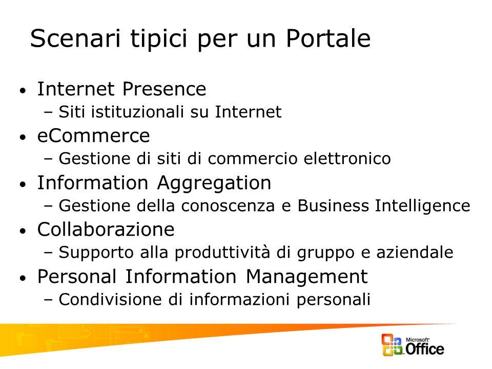 Scenari tipici per un Portale Internet Presence –Siti istituzionali su Internet eCommerce –Gestione di siti di commercio elettronico Information Aggre