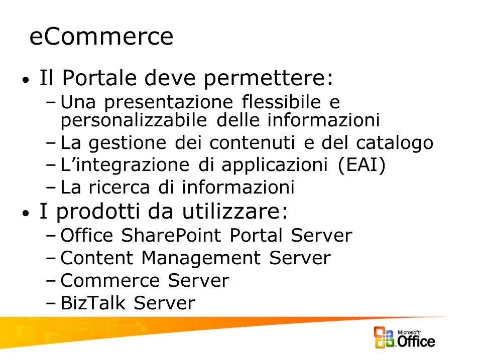 eCommerce Il Portale deve permettere: –Una presentazione flessibile e personalizzabile delle informazioni –La gestione dei contenuti e del catalogo –L