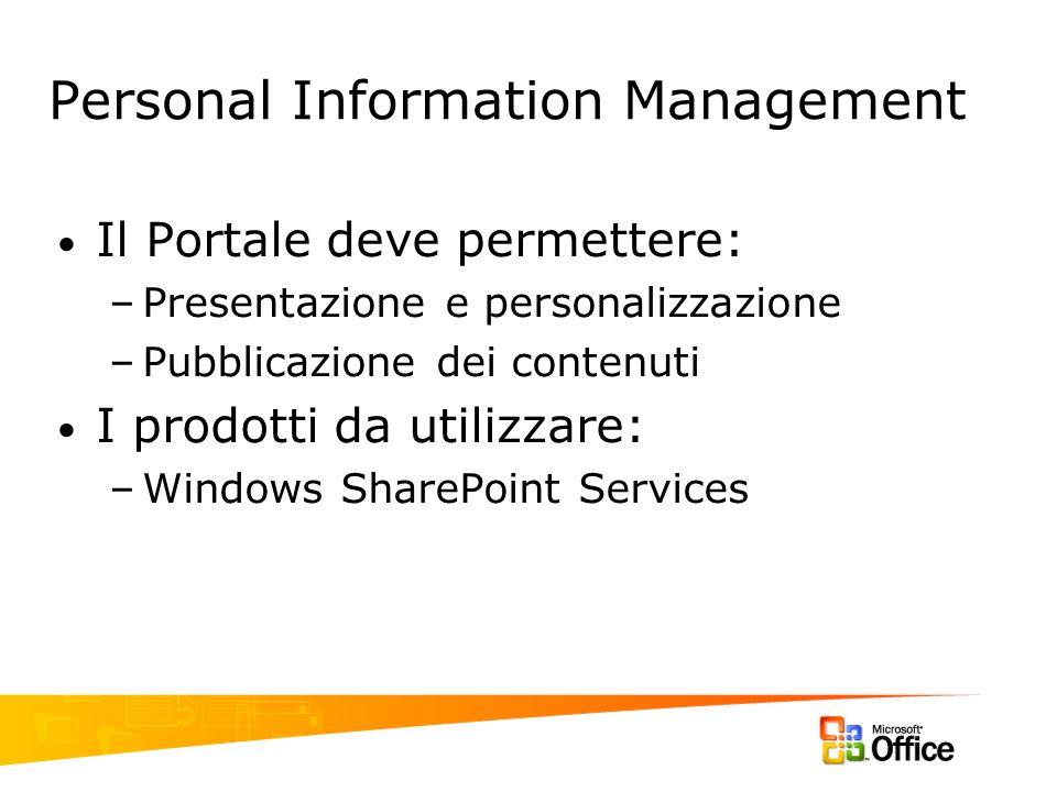 Personal Information Management Il Portale deve permettere: –Presentazione e personalizzazione –Pubblicazione dei contenuti I prodotti da utilizzare: