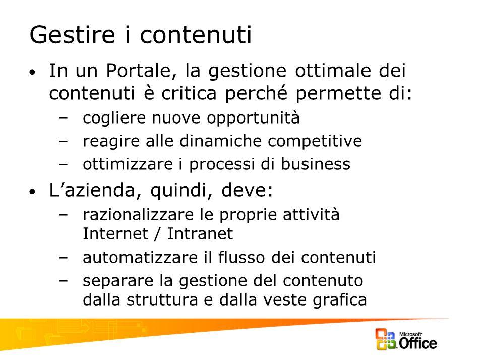 Gestire i contenuti In un Portale, la gestione ottimale dei contenuti è critica perché permette di: –cogliere nuove opportunità –reagire alle dinamich