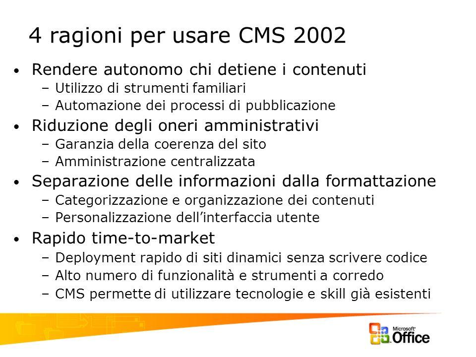 4 ragioni per usare CMS 2002 Rendere autonomo chi detiene i contenuti –Utilizzo di strumenti familiari –Automazione dei processi di pubblicazione Ridu