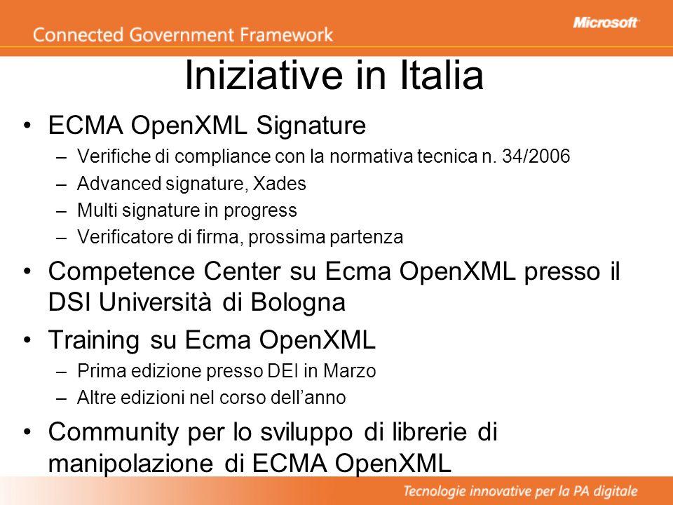Iniziative in Italia ECMA OpenXML Signature –Verifiche di compliance con la normativa tecnica n. 34/2006 –Advanced signature, Xades –Multi signature i