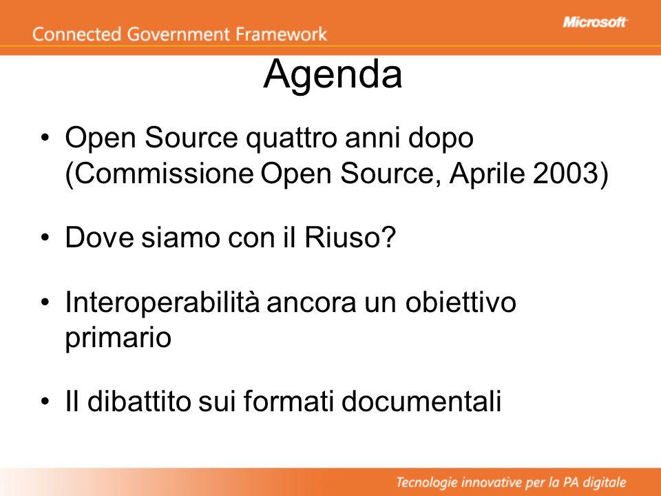Agenda Open Source quattro anni dopo (Commissione Open Source, Aprile 2003) Dove siamo con il Riuso? Interoperabilità ancora un obiettivo primario Il