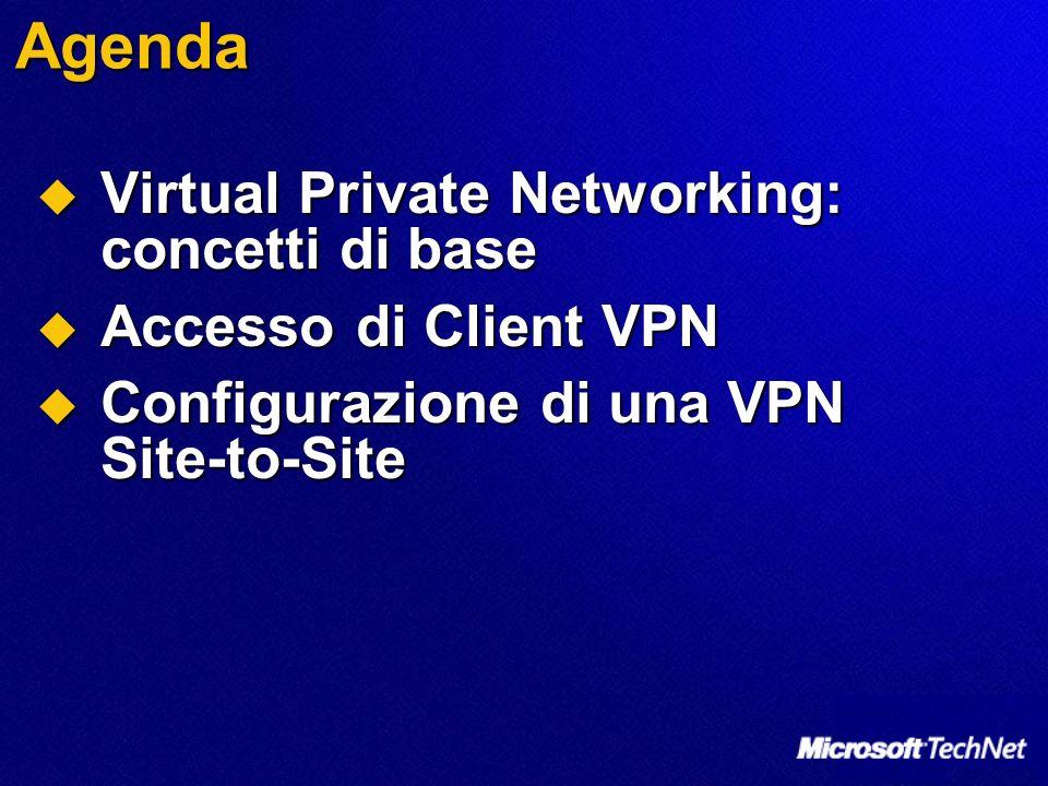 Benefici di ISA Server per VPN Benefici Connessioni Sicure ISA Server usa le politiche di accesso del per ispezionare e filtrare tutto il traffico dai client VPN Prestazioni ISA Server è ottimizzato per forzare richieste di sicurezza complesse sulle connessioni VPN Reti di Quarantena perWindows 2000 Le reti di quarantena non sono disponibili con RRAS di Windows 2000 ma possono essere abilitare con ISA Server 2004 su Windows 2000 Registrazione e controllo ISA Server può registrare tutte le connessioni VPN e controllare le connessioni VPN Stateful Inspection per IPSec tunnel- mode Abilita la stateful inspection per forzare il controllo degli accessi per user/group, siti, computer, protocolli e application sul traffico IPSec tunnel-mode Protezione Avanzata ISA Server stesso è protetto da politiche di accesso su firewall