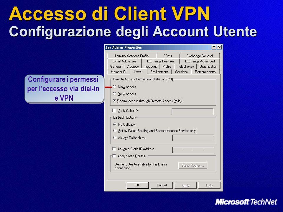 Accesso di Client VPN Configurazione degli Account Utente Configurare i permessi per laccesso via dial-in e VPN Configurare i permessi per laccesso vi