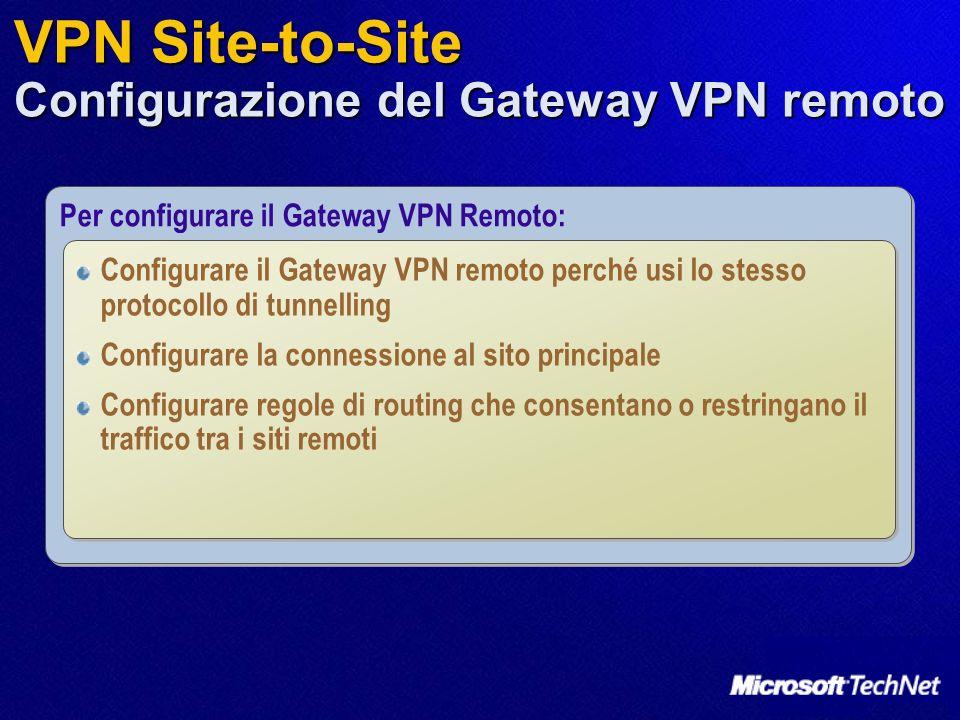 VPN Site-to-Site Configurazione del Gateway VPN remoto Per configurare il Gateway VPN Remoto: Configurare il Gateway VPN remoto perché usi lo stesso p