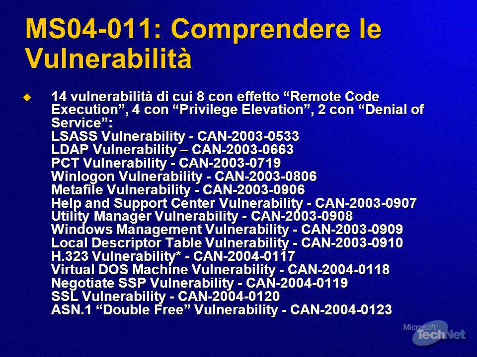 MS04-011: Comprendere le Vulnerabilità Modalità di attacco: nel caso peggiore Modalità di attacco: nel caso peggiore eseguibile da remoto eseguibile da remoto non richiede autenticazione non richiede autenticazione privilegi ottenibili: quelli di SYSTEM privilegi ottenibili: quelli di SYSTEM comunque: comunque: Non tutte le vulnerabilità si possono sfruttare da remoto Non tutte le vulnerabilità si possono sfruttare da remoto Non tutte le vulnerabilità si possono sfruttare senza credenziali valide Non tutte le vulnerabilità si possono sfruttare senza credenziali valide Non tutte le vulnerabilità permettono di ottenere i massimi privilegi sui sistemi sotto attacco Non tutte le vulnerabilità permettono di ottenere i massimi privilegi sui sistemi sotto attacco