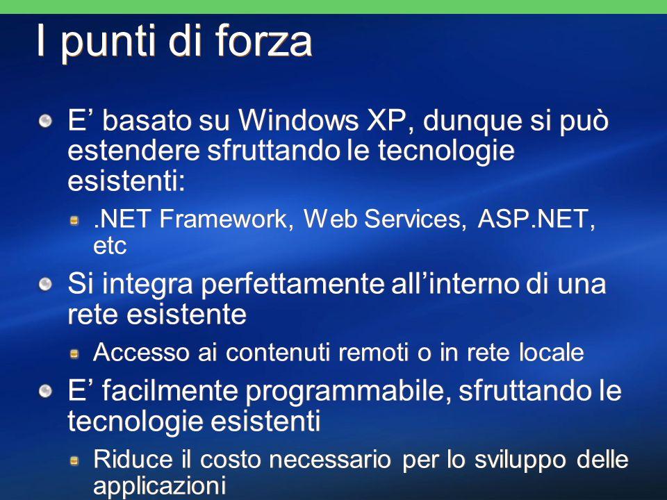 I punti di forza E basato su Windows XP, dunque si può estendere sfruttando le tecnologie esistenti:.NET Framework, Web Services, ASP.NET, etc Si integra perfettamente allinterno di una rete esistente Accesso ai contenuti remoti o in rete locale E facilmente programmabile, sfruttando le tecnologie esistenti Riduce il costo necessario per lo sviluppo delle applicazioni E basato su Windows XP, dunque si può estendere sfruttando le tecnologie esistenti:.NET Framework, Web Services, ASP.NET, etc Si integra perfettamente allinterno di una rete esistente Accesso ai contenuti remoti o in rete locale E facilmente programmabile, sfruttando le tecnologie esistenti Riduce il costo necessario per lo sviluppo delle applicazioni
