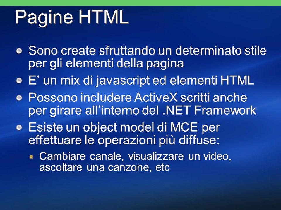 Pagine HTML Sono create sfruttando un determinato stile per gli elementi della pagina E un mix di javascript ed elementi HTML Possono includere ActiveX scritti anche per girare allinterno del.NET Framework Esiste un object model di MCE per effettuare le operazioni più diffuse: Cambiare canale, visualizzare un video, ascoltare una canzone, etc Sono create sfruttando un determinato stile per gli elementi della pagina E un mix di javascript ed elementi HTML Possono includere ActiveX scritti anche per girare allinterno del.NET Framework Esiste un object model di MCE per effettuare le operazioni più diffuse: Cambiare canale, visualizzare un video, ascoltare una canzone, etc