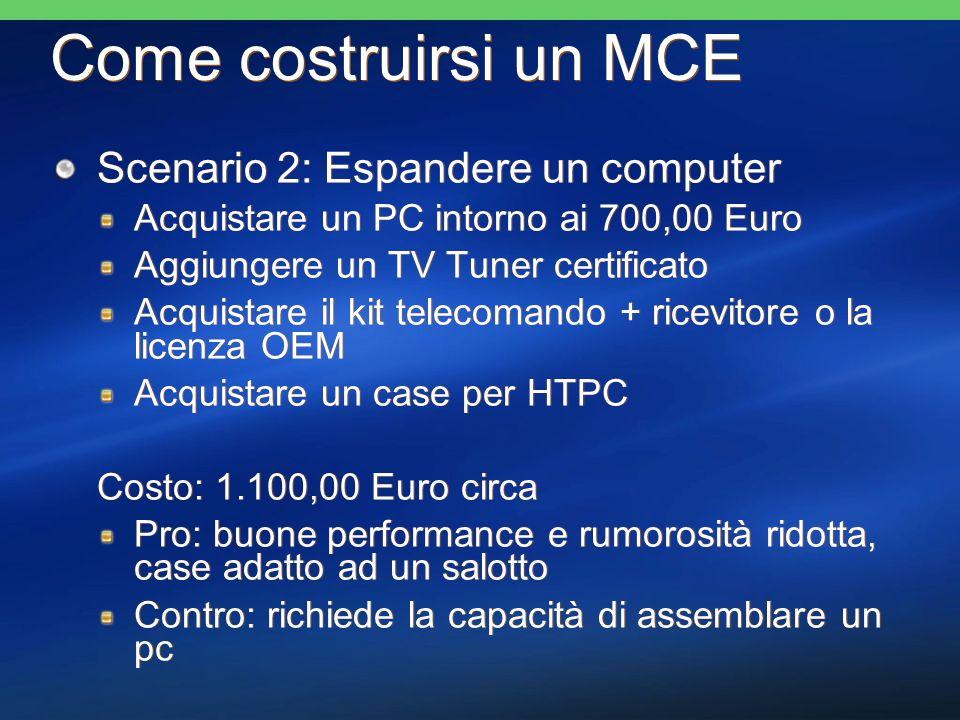Come costruirsi un MCE Scenario 2: Espandere un computer Acquistare un PC intorno ai 700,00 Euro Aggiungere un TV Tuner certificato Acquistare il kit telecomando + ricevitore o la licenza OEM Acquistare un case per HTPC Costo: 1.100,00 Euro circa Pro: buone performance e rumorosità ridotta, case adatto ad un salotto Contro: richiede la capacità di assemblare un pc Scenario 2: Espandere un computer Acquistare un PC intorno ai 700,00 Euro Aggiungere un TV Tuner certificato Acquistare il kit telecomando + ricevitore o la licenza OEM Acquistare un case per HTPC Costo: 1.100,00 Euro circa Pro: buone performance e rumorosità ridotta, case adatto ad un salotto Contro: richiede la capacità di assemblare un pc
