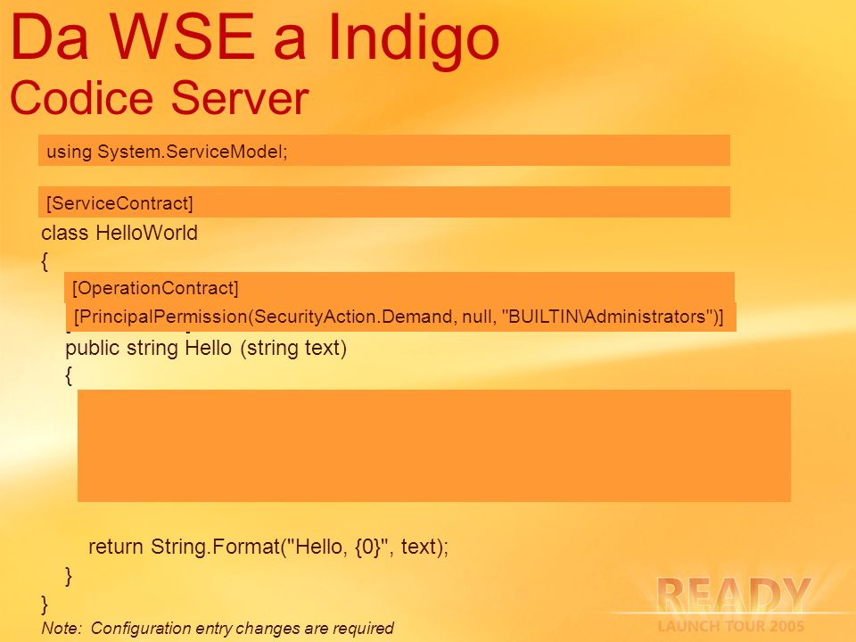 Da WSE a Indigo Codice Server using Microsoft.Web.Services3; [WebService] class HelloWorld { [WebMethod] public string Hello (string text) { MessageSi