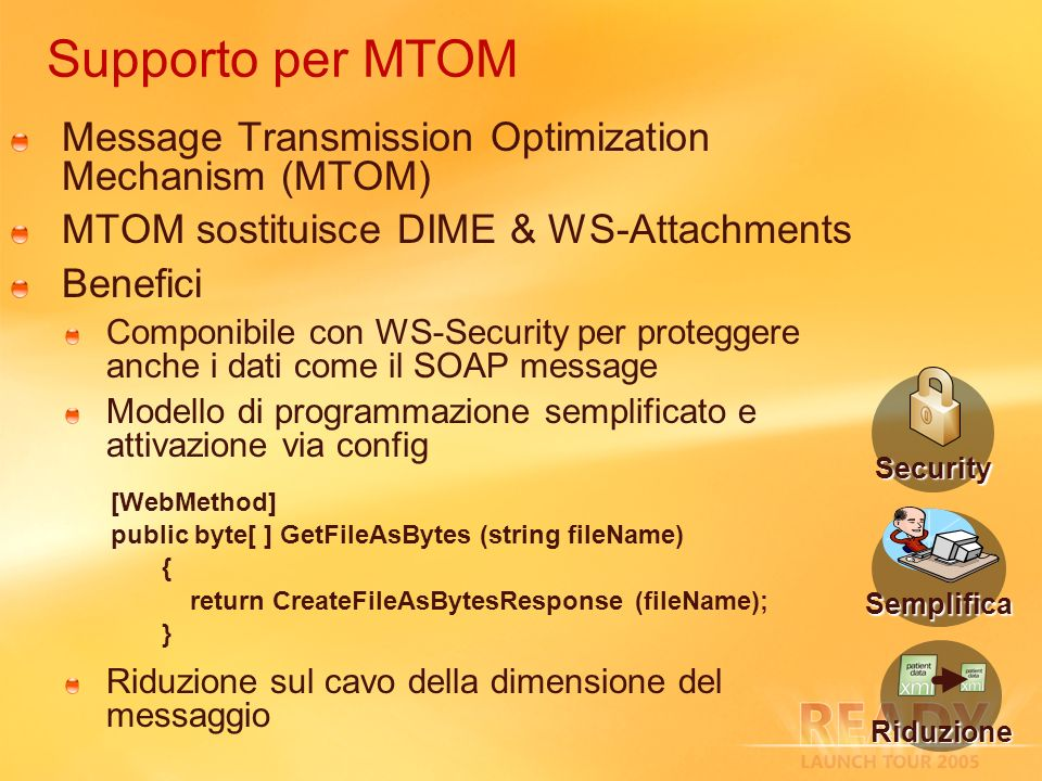 Supporto per MTOM Message Transmission Optimization Mechanism (MTOM) MTOM sostituisce DIME & WS-Attachments Benefici Componibile con WS-Security per p