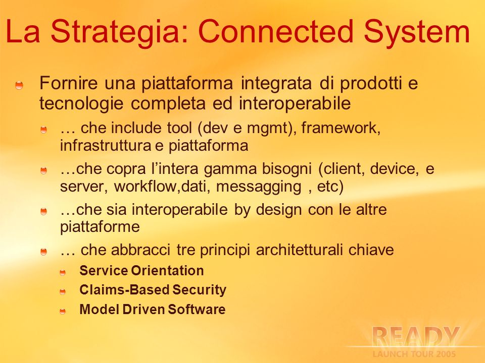 La Strategia: Connected System Fornire una piattaforma integrata di prodotti e tecnologie completa ed interoperabile … che include tool (dev e mgmt),