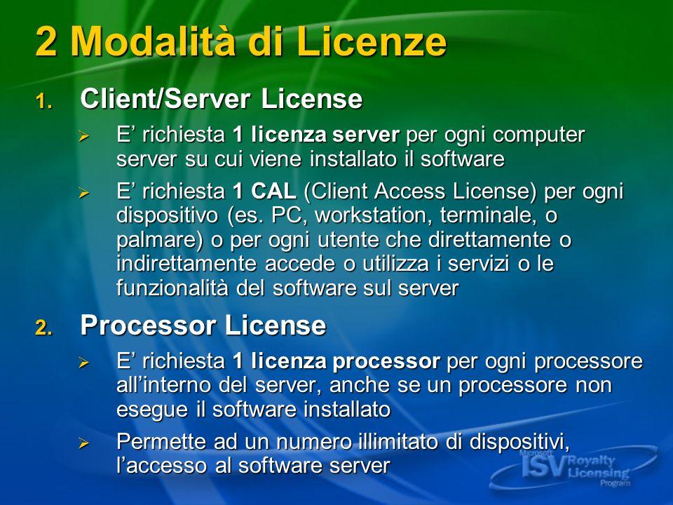 2 Modalità di Licenze 1. Client/Server License E richiesta 1 licenza server per ogni computer server su cui viene installato il software E richiesta 1