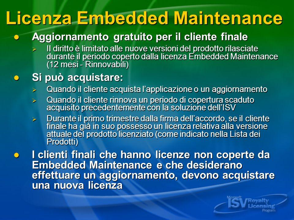 Licenza Embedded Maintenance Aggiornamento gratuito per il cliente finale Aggiornamento gratuito per il cliente finale Il diritto è limitato alle nuov