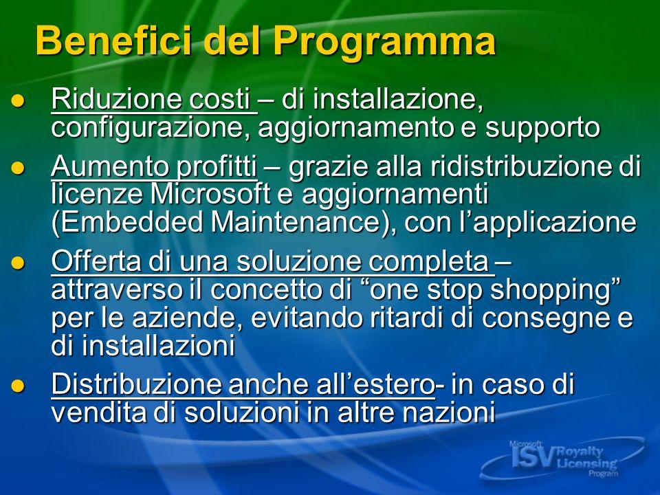 Benefici del Programma Riduzione costi – di installazione, configurazione, aggiornamento e supporto Riduzione costi – di installazione, configurazione