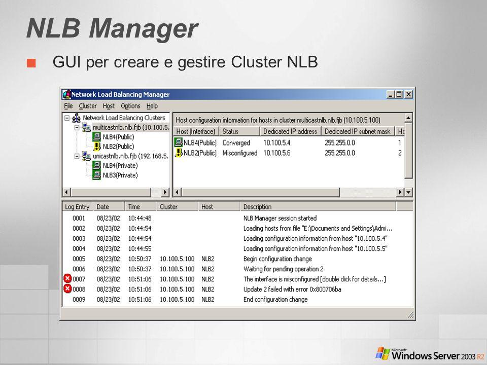 NLB Manager GUI per creare e gestire Cluster NLB