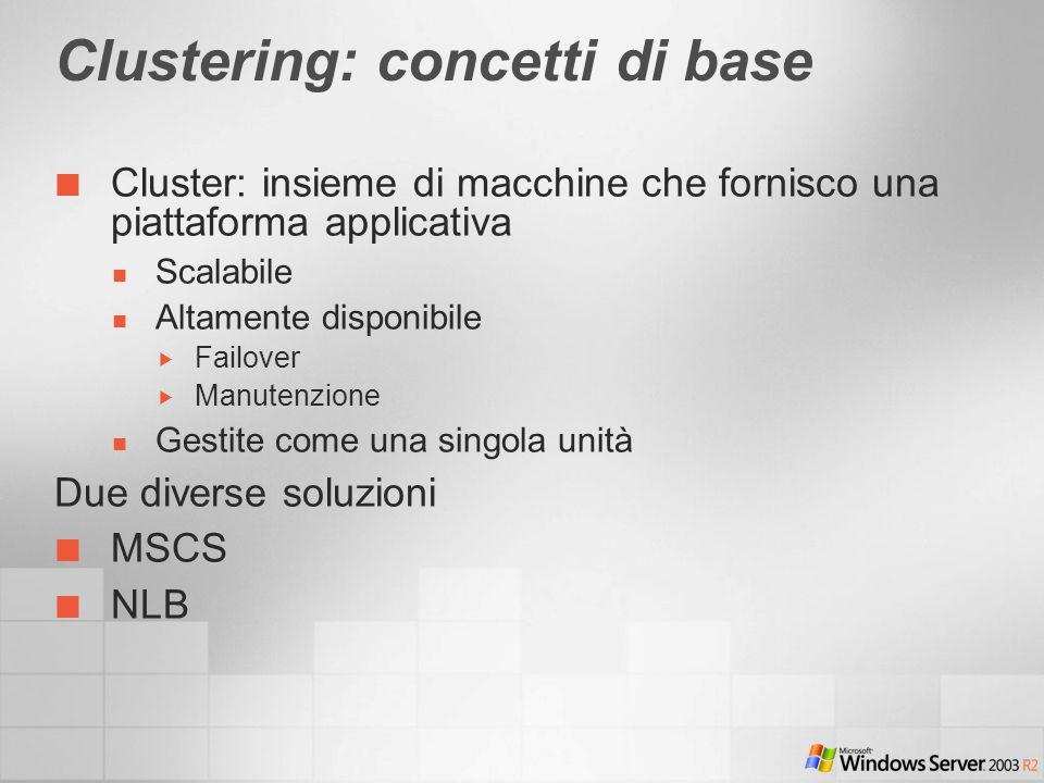 Clustering: concetti di base Cluster: insieme di macchine che fornisco una piattaforma applicativa Scalabile Altamente disponibile Failover Manutenzione Gestite come una singola unità Due diverse soluzioni MSCS NLB