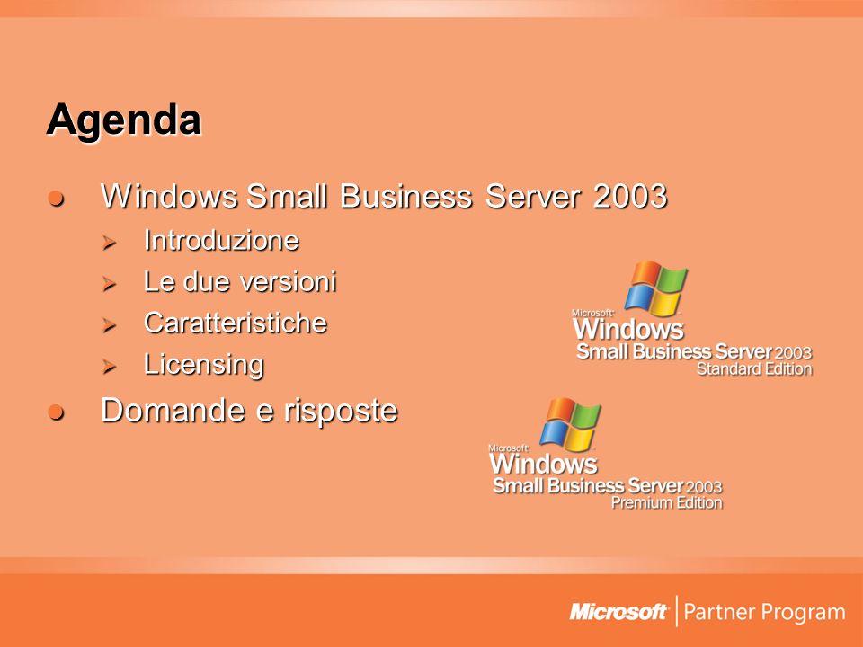 Agenda Windows Small Business Server 2003 Windows Small Business Server 2003 Introduzione Introduzione Le due versioni Le due versioni Caratteristiche Caratteristiche Licensing Licensing Domande e risposte Domande e risposte