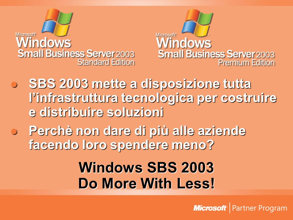 Windows SBS 2003 Do More With Less.