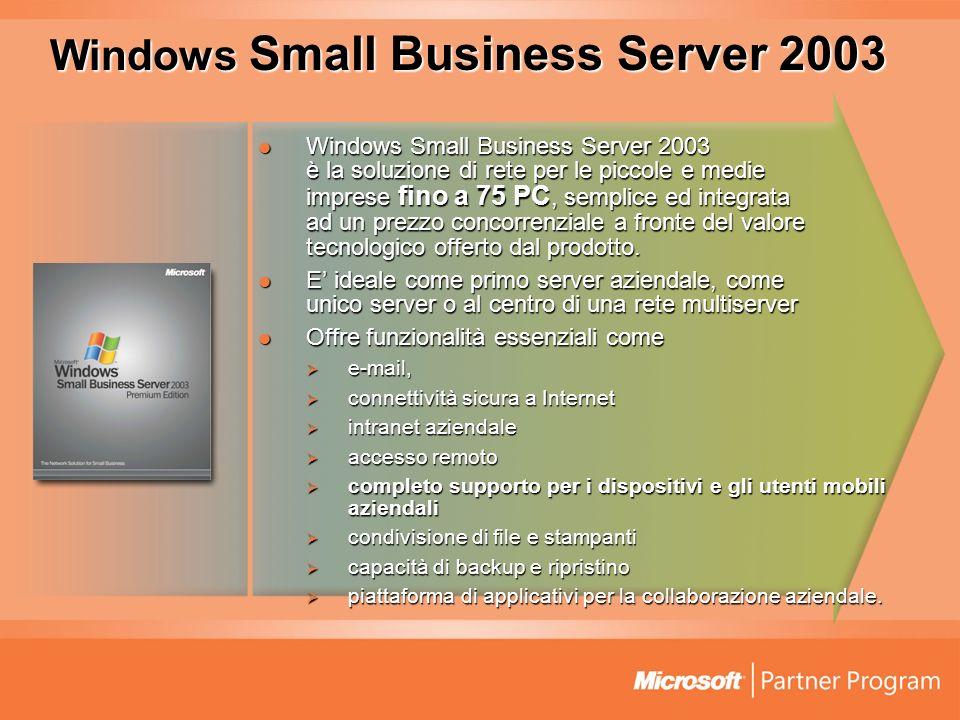 Windows Small Business Server 2003 Windows Small Business Server 2003 è la soluzione di rete per le piccole e medie imprese fino a 75 PC, semplice ed integrata ad un prezzo concorrenziale a fronte del valore tecnologico offerto dal prodotto.