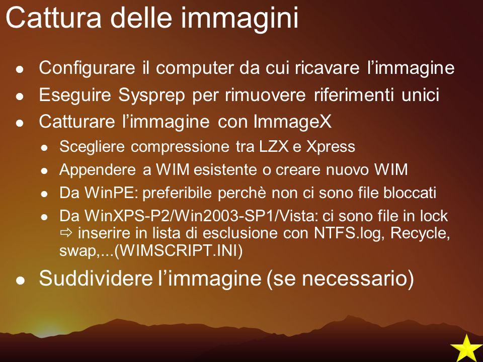Cattura delle immagini Configurare il computer da cui ricavare limmagine Eseguire Sysprep per rimuovere riferimenti unici Catturare limmagine con Imma