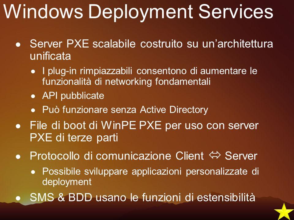 Windows Deployment Services Server PXE scalabile costruito su unarchitettura unificata I plug-in rimpiazzabili consentono di aumentare le funzionalità
