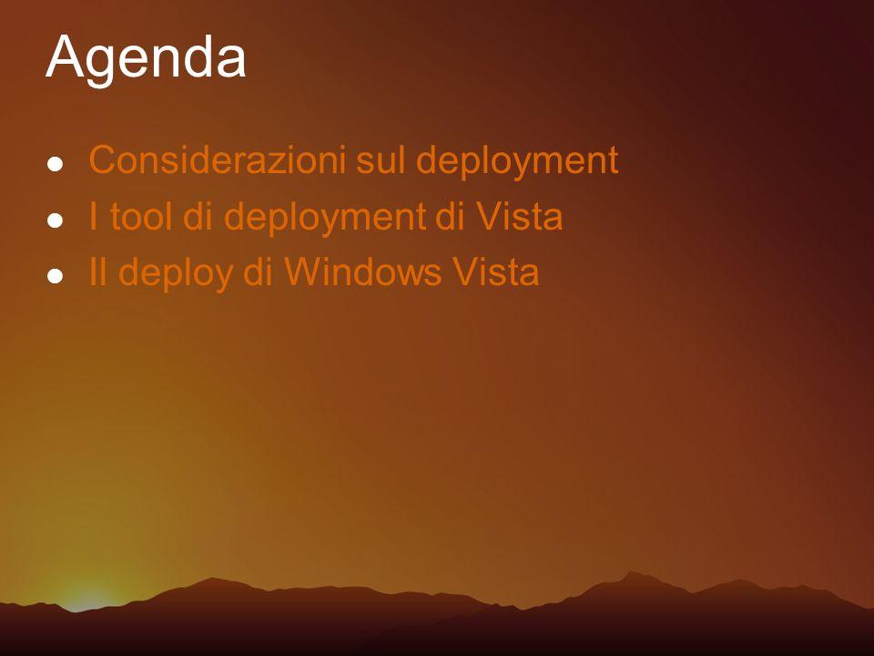 Considerazioni sul deployment I tool di deployment di Vista Il deploy di Windows Vista Agenda
