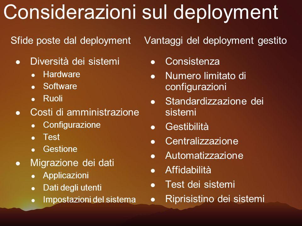 Considerazioni sul deployment Sfide poste dal deployment Diversità dei sistemi Hardware Software Ruoli Costi di amministrazione Configurazione Test Ge