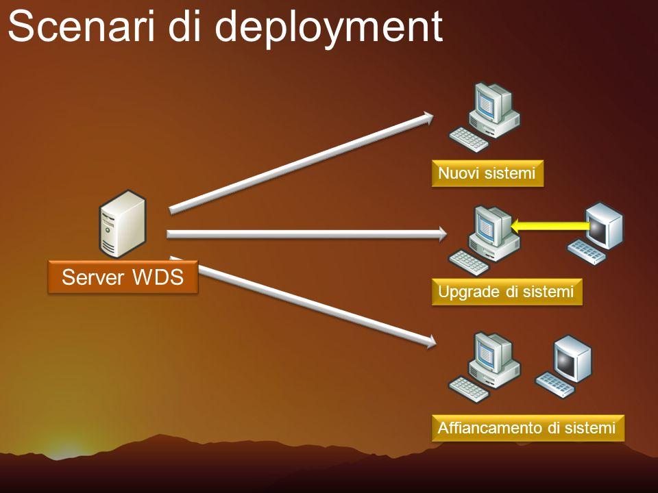 Scenari di deployment Server WDS Nuovi sistemi Upgrade di sistemi Affiancamento di sistemi