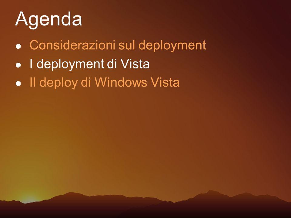 Considerazioni sul deployment I deployment di Vista Il deploy di Windows Vista Agenda