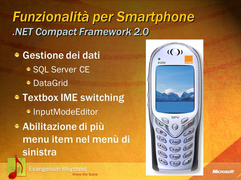Funzionalità per Smartphone.NET Compact Framework 2.0 Gestione dei dati SQL Server CE DataGrid Textbox IME switching InputModeEditor Abilitazione di più menu item nel menù di sinistra