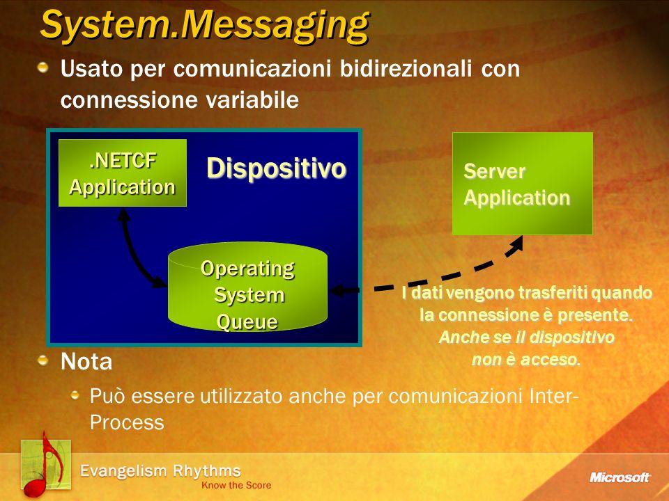 Usato per comunicazioni bidirezionali con connessione variabile Nota Può essere utilizzato anche per comunicazioni Inter- Process System.Messaging Server Application I dati vengono trasferiti quando la connessione è presente.