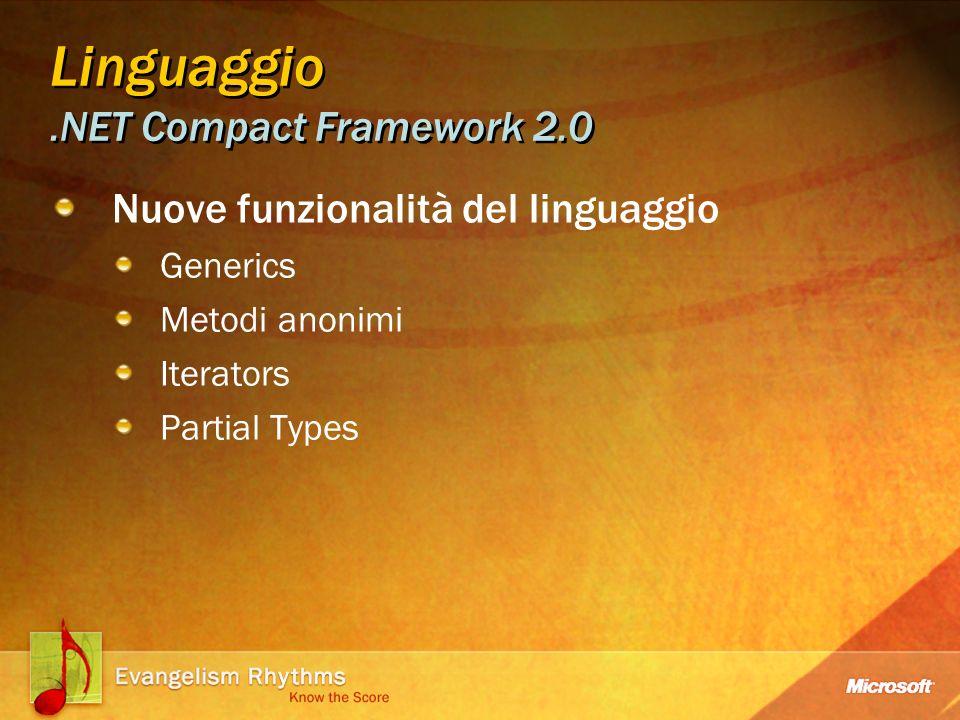 Linguaggio.NET Compact Framework 2.0 Nuove funzionalità del linguaggio Generics Metodi anonimi Iterators Partial Types