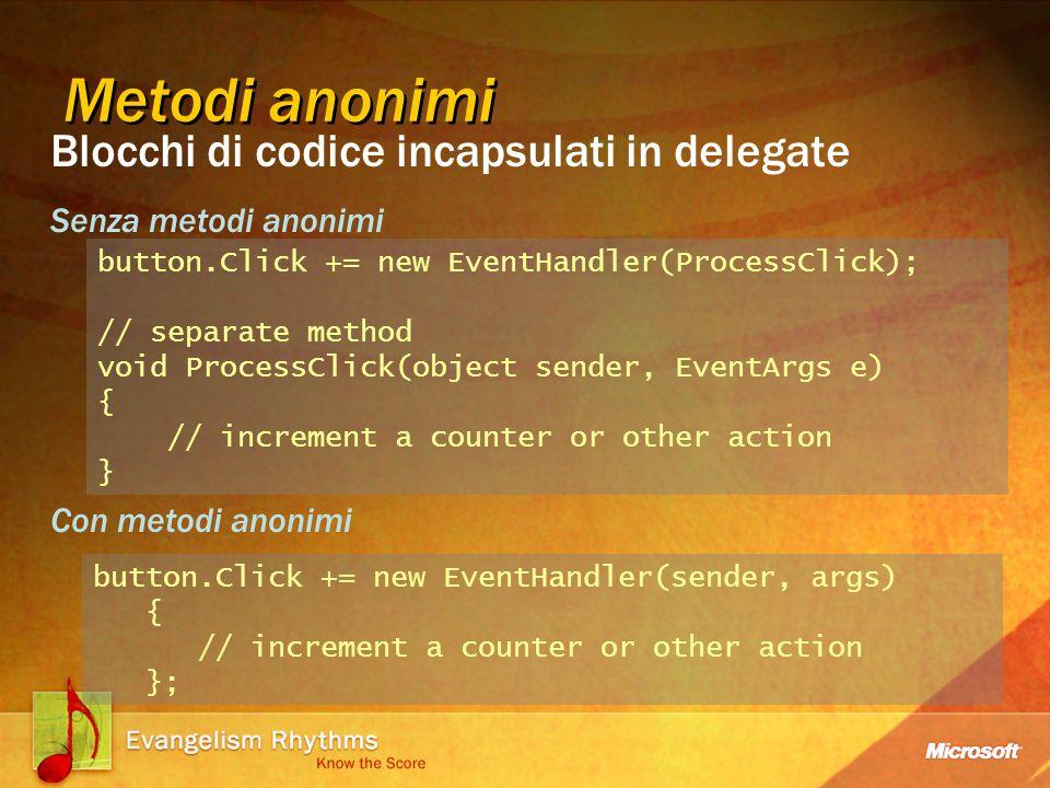 Partial Types Foo-part1.cs public partial class Foo { public void CodeGenFunc() { // generato da un toot } } Foo-part2.cs public partial class Foo { public void UserFunc() { // codice utente } } Divide la definizione di un tipo in file separati Il compilatore C# combina i file per creare un unica classe La separazione aiuta a mantenere aggiornato il codice sopratutto in presenza di generaziona automatica