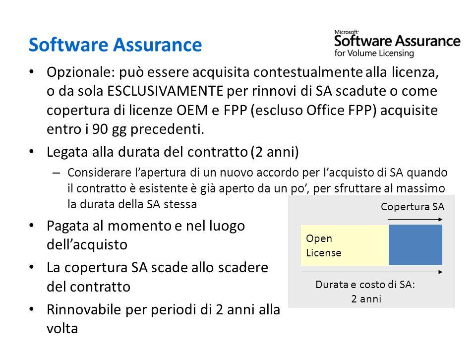 Software Assurance Opzionale: può essere acquisita contestualmente alla licenza, o da sola ESCLUSIVAMENTE per rinnovi di SA scadute o come copertura d