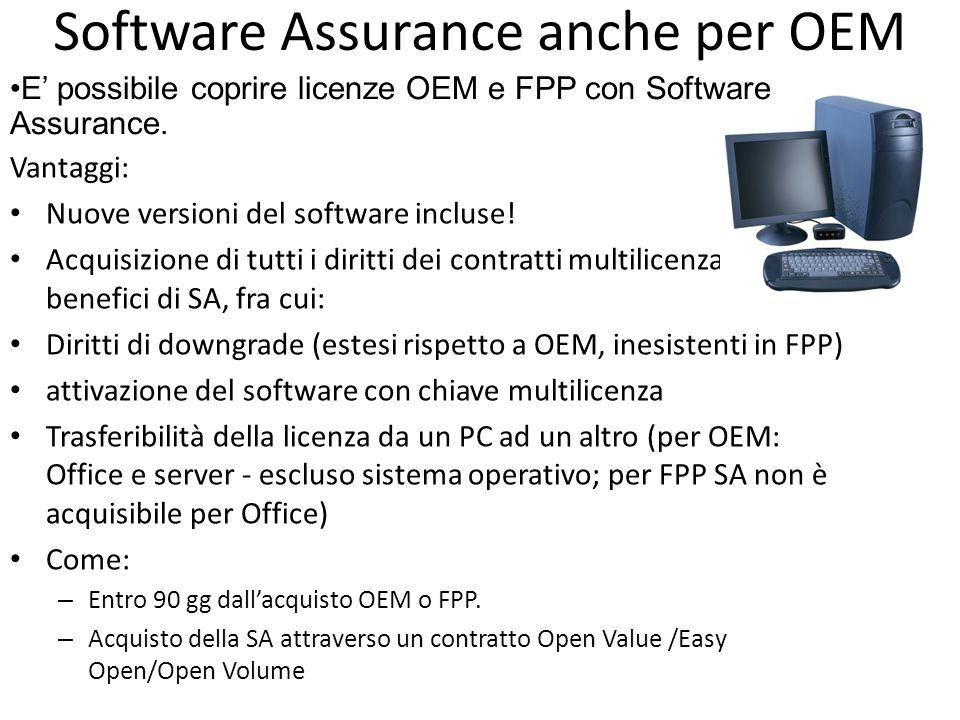 Software Assurance anche per OEM Vantaggi: Nuove versioni del software incluse! Acquisizione di tutti i diritti dei contratti multilicenza e di tutti