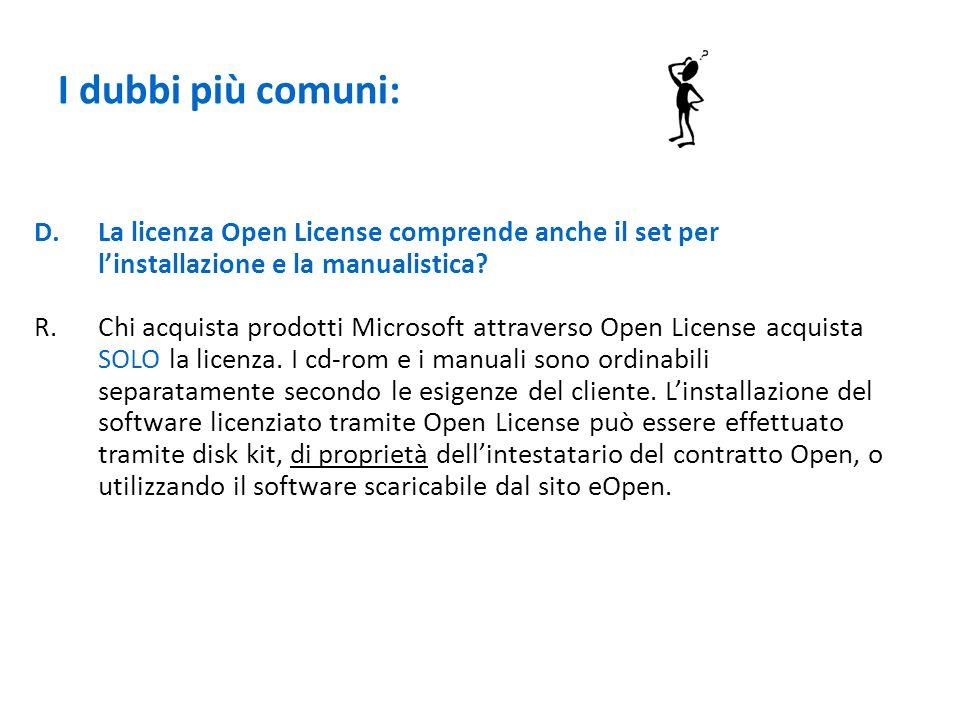 I dubbi più comuni: D.La licenza Open License comprende anche il set per linstallazione e la manualistica? R.Chi acquista prodotti Microsoft attravers