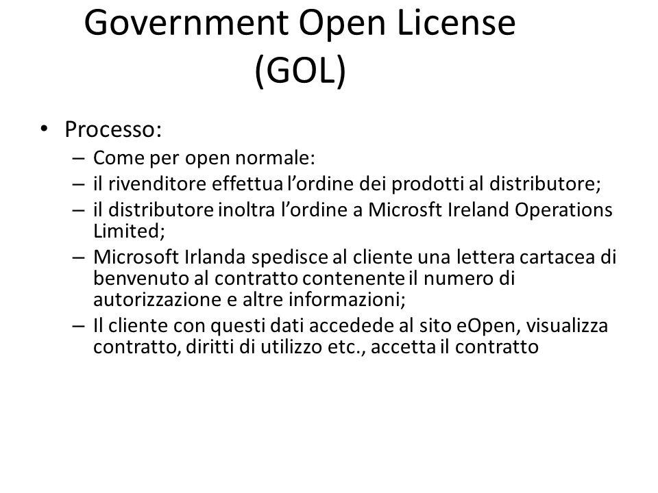 Government Open License (GOL) Processo: – Come per open normale: – il rivenditore effettua lordine dei prodotti al distributore; – il distributore ino