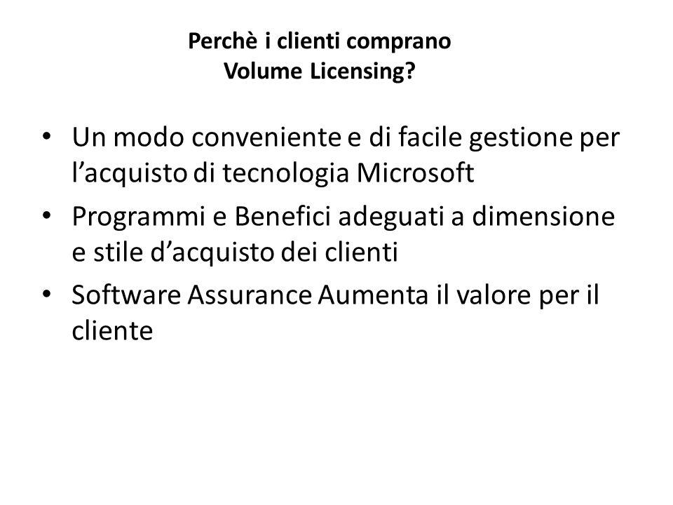 Perchè i clienti comprano Volume Licensing? Un modo conveniente e di facile gestione per lacquisto di tecnologia Microsoft Programmi e Benefici adegua
