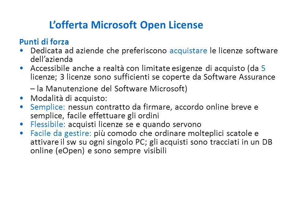 Lofferta Microsoft Open License Prodotti forniti Tutti i prodotti (escluso hardware e i prodotti consumer) Licenze disponibili Le licenze dei prodotti possono essere acquistate scegliendo tra tre diverse opzioni: –License (L), Software Assurance (SA), License&Software Assurance (L+SA)