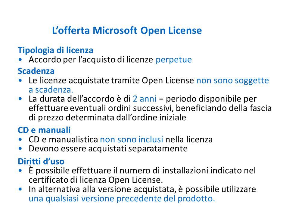 Lofferta Microsoft Open License Tipologia di licenza Accordo per lacquisto di licenze perpetue Scadenza Le licenze acquistate tramite Open License non