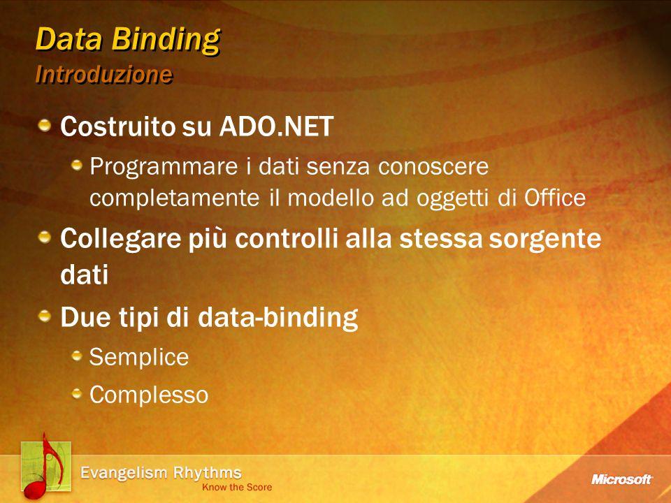 Data Binding Introduzione Costruito su ADO.NET Programmare i dati senza conoscere completamente il modello ad oggetti di Office Collegare più controlli alla stessa sorgente dati Due tipi di data-binding Semplice Complesso