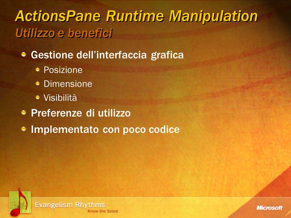 ActionsPane Runtime Manipulation Utilizzo e benefici Gestione dellinterfaccia grafica Posizione Dimensione Visibilità Preferenze di utilizzo Implementato con poco codice